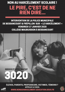 Affiche non au harcèlement scolaire intervention police